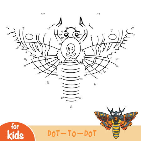 Numbers game, education dot to dot game for children, Deaths head hawkmoth Illustration