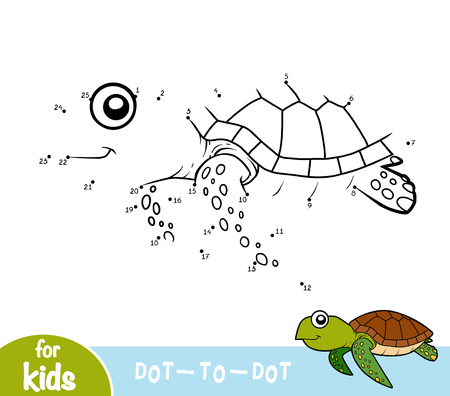 Numbers game, education dot to dot game for children, Turtle Illustration