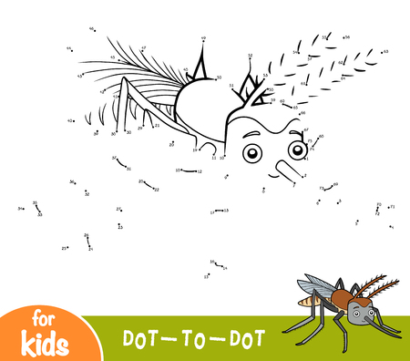 Numbers game, education dot to dot game for children, Mosquito