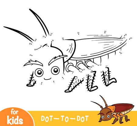 Numbers game, education dot to dot game for children, Cockroach Illustration