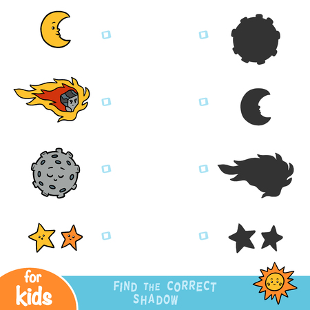 Find the correct shadow, education game for children, set of objects of nature Ilustrace