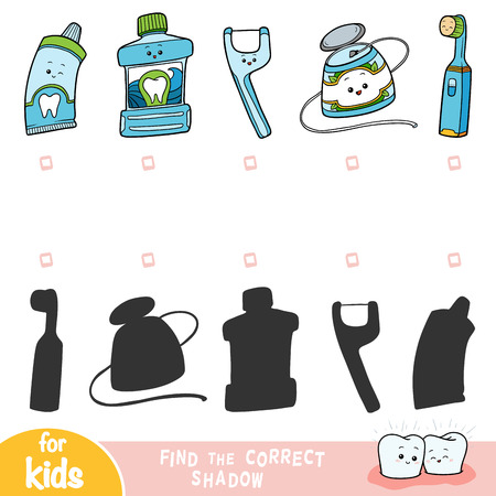 Find the correct shadow, education game for children, set of objects for the care of teeth Illustration