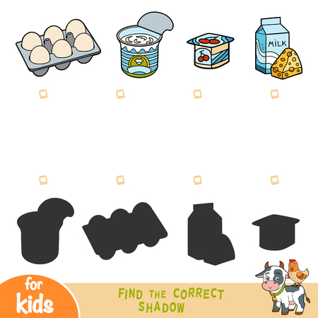 Find the correct shadow, education game for children, set of food