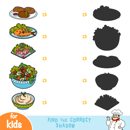Find the correct shadow, education game for children, set of food dishes Illustration