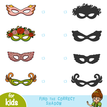 Find the correct shadow, education game for children, set of Carnival masks