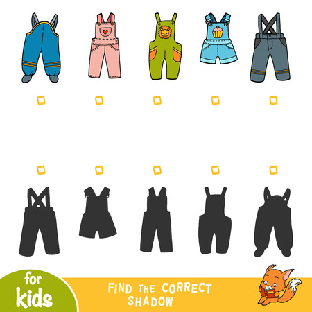 Find the correct shadow, education game for children, set of dungarees Stock Illustratie