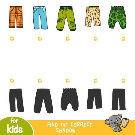 Encuentra la sombra correcta, juego educativo para niños, conjunto de pantalones. Ilustración de vector