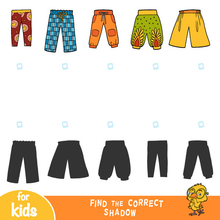 Find the correct shadow, education game for children, set of pants