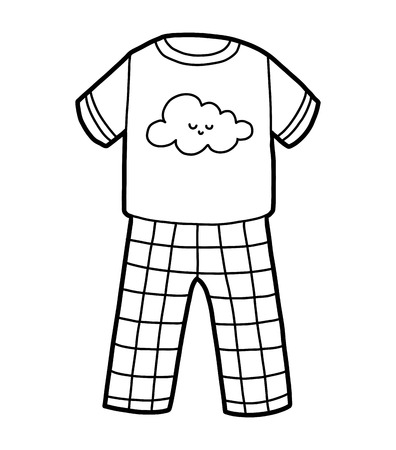 Coloring book for children, Pyjamas with cute cloud Vector Illustratie