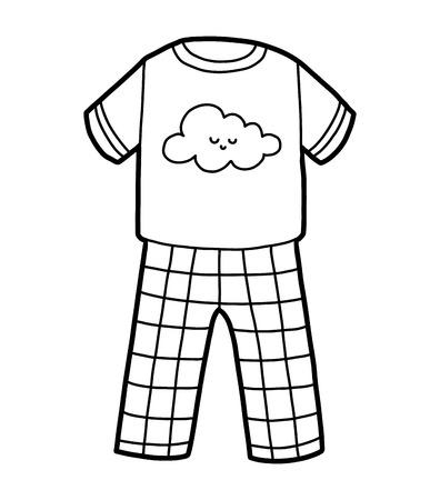 Malbuch für Kinder, Pyjama mit süßer Wolke Vektorgrafik