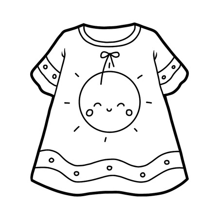 Coloring book for children, Nightdress with cute sun