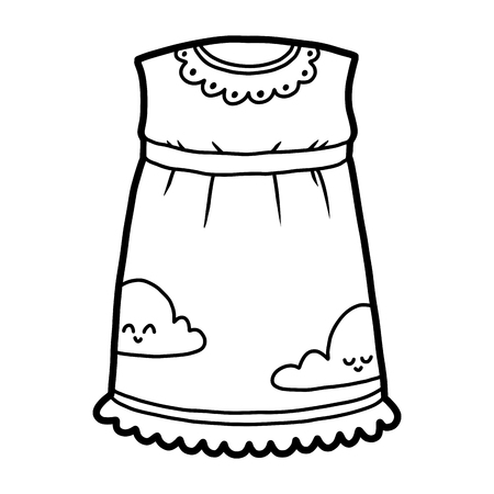 Coloring book for children, Nightdress with clouds Illustration