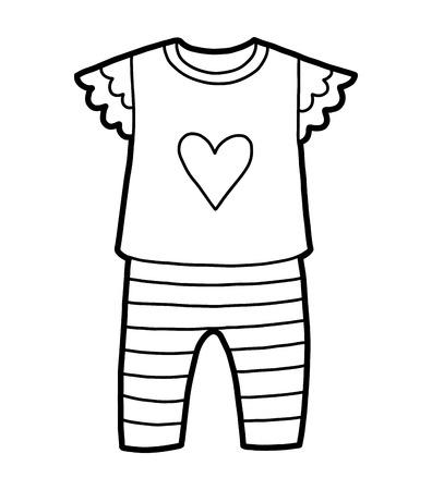 Malbuch für Kinder, Pyjamas mit Herz Vektorgrafik