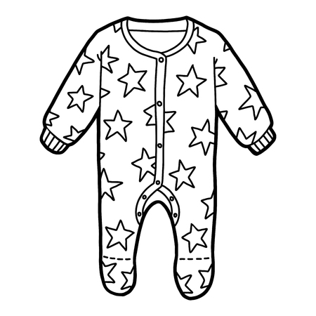 Coloring book for children, Sleepsuit with stars Vector Illustration
