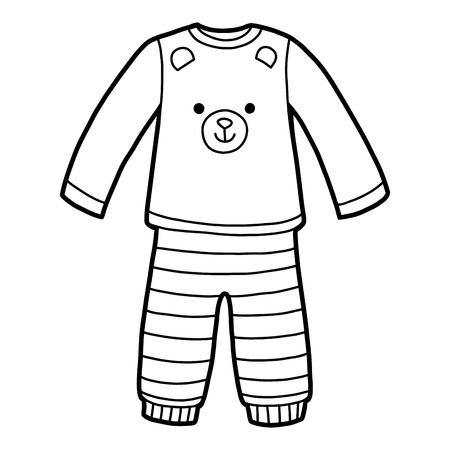 Coloring book for children, Pyjamas with a bear Illustration