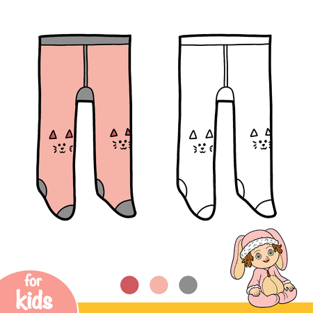 Coloring book for children, Kids tights with kitty knee