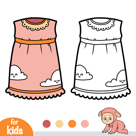 Coloring book for children, Nightdress with clouds Ilustração