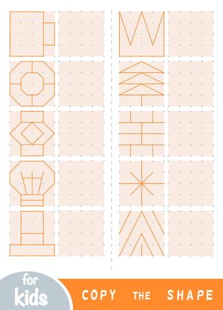 Copia l'immagine, gioco educativo per bambini. Replica l'immagine per punti. Disegna ornamenti geometrici e naturali