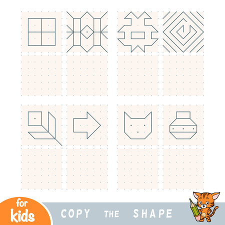 Copy the picture, education game for children. Replicate the image by dots. Draw geometric and natural ornaments Ilustração