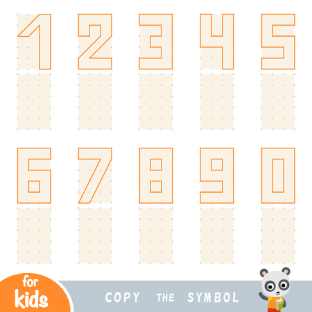 Copy the picture, education game for children. Replicate the image by dots. Draw Arabic Numbers Vektorové ilustrace