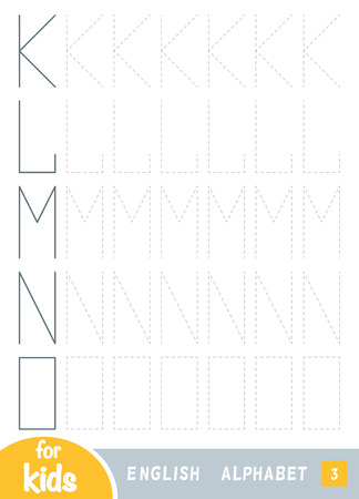 Draw the shapes, education game for children. Replicate the image by lines. Draw the letters of the English alphabet. Letters K, L, M, N, O Ilustração