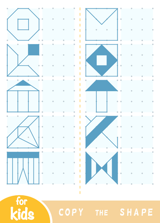 Copia l'immagine, gioco educativo per bambini. Replica l'immagine per punti. Disegna ornamenti geometrici e naturali Vettoriali
