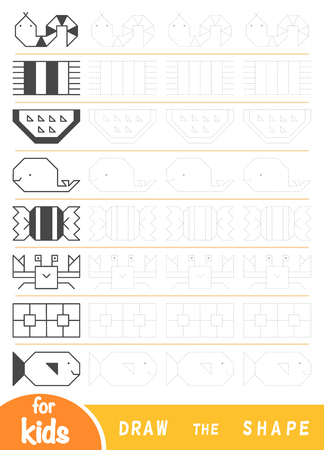 Dessinez les formes, jeu éducatif pour les enfants. Reproduisez l'image par des lignes. Dessiner des ornements géométriques et naturels