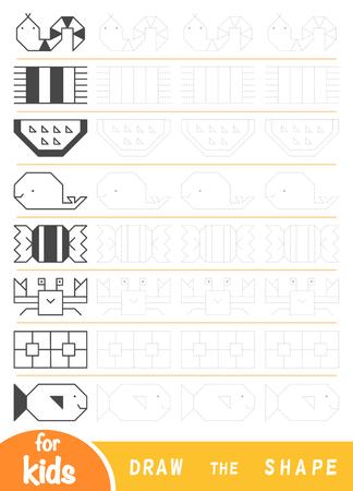 Zeichnen Sie die Formen, Bildungsspiel für Kinder. Replizieren Sie das Bild zeilenweise. Zeichnen Sie geometrische und natürliche Ornamente