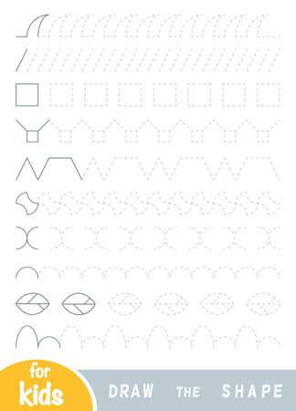 Draw the shapes, education game for children. Replicate the image by lines. Set of ornaments for training handwriting