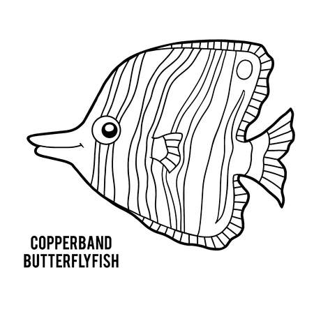 Coloring book for children, Copperband butterflyfish