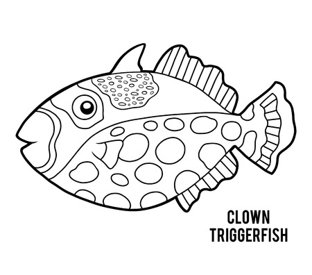 Coloring book for children, Clown triggerfish Illustration