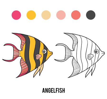 Coloring book for children, Angelfish Vecteurs