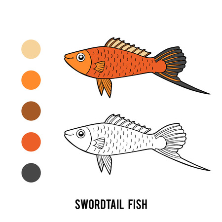 Coloring book for children, Swordtail fish Ilustração