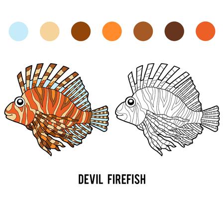 Coloring book for children, Devil firefish