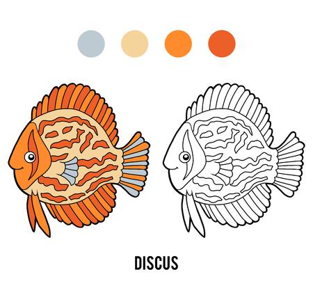 Coloring book for children, Discus fish Vetores