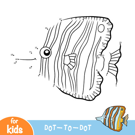 Numbers game, education dot to dot game for children, Copperband butterflyfish Stock Vector - 122793230