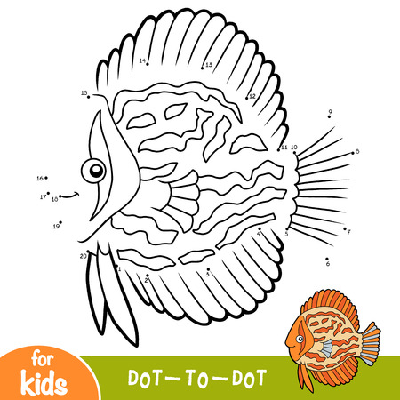 Numbers game, education dot to dot game for children, Discus fish Ilustração