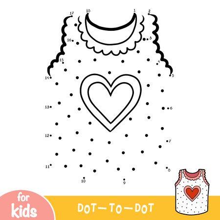 Numbers game, education dot to dot game for children, Vest with heart