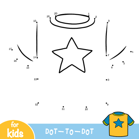 Numbers game, education dot to dot game for children, T-shirt with a star
