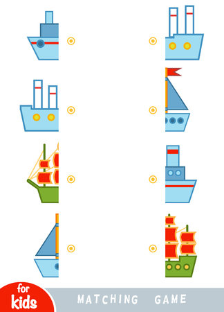 Matching game, educational game for children. Match the halves. Set of ships