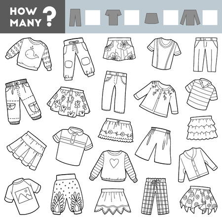 Counting Game for Preschool Children. Educational a mathematical game. Count how many skirts, trousers, jumpers, T-shirts and write the result!