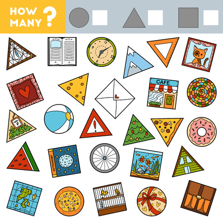Counting Game for Preschool Children. Educational a mathematical game. Count how many round, square and triangular objects and write the result! Illustration