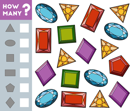 Counting Game for Preschool Children. Educational a mathematical game. Count how many gemstones and write the result!