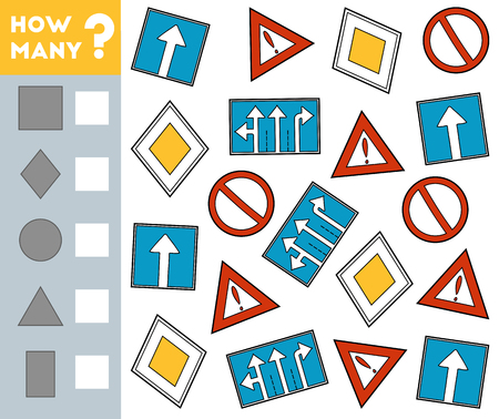 Counting Game for Preschool Children. Educational a mathematical game. Count how many Road signs and write the result!