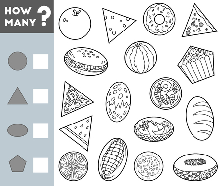 Counting Game for Preschool Children. Educational a mathematical game. Count how many objects of different shapes and write the result!