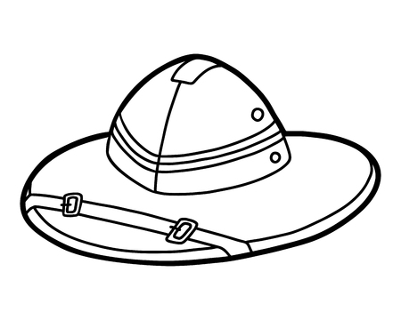 Coloring book for children, cartoon headwear,  Pith helmet