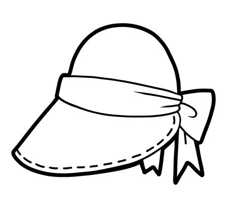 Malbuch für Kinder, Cartoon-Kopfbedeckung, Schirmmütze Vektorgrafik