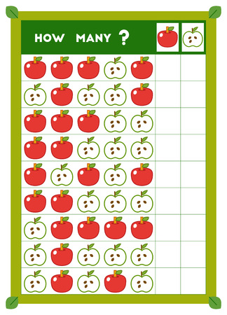 Counting game, educational game for children. Count how many Apples in each row and write the result! 일러스트