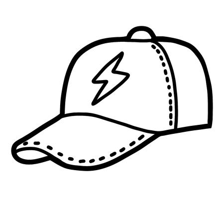 Coloring book for children, cartoon headwear,  Baseball cap Vettoriali
