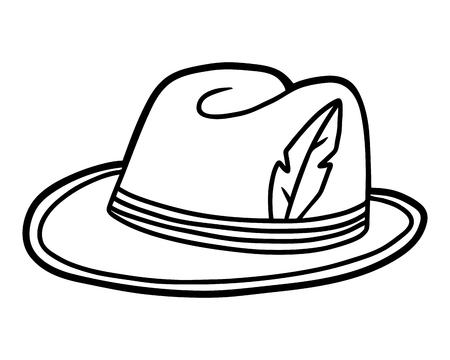 Coloring book for children, cartoon headwear, Tyrolean hat